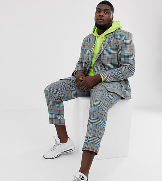 Asos Design DESIGN Plus tapered suit trouser with colour pop check-Grey