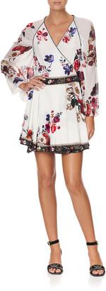 Camilla Floral-Print Short Wrap Dress w/ Draped Sleeves