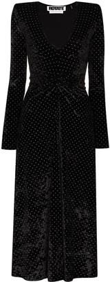 Rotate by Birger Christensen Velvet Effect Polka-Dot Dress