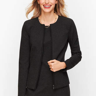 Talbots Italian Luxe Knit Stripe Zip-Front Jacket - Stripe