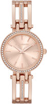 Liz Claiborne Womens Rose-Gold-Tone Bracelet Watch