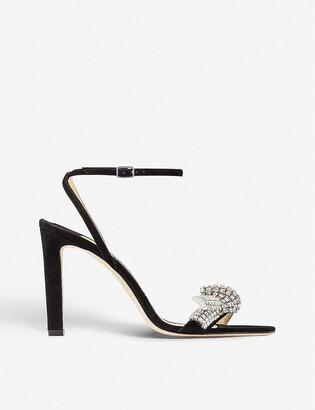 Jimmy Choo Thyra 100 jewel-embellished suede heeled sandals