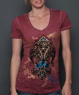 Rebel Spirit Red & Gold Fleur-de-Lis V-Neck Tee - Women