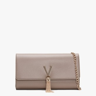 Valentino By Mario Valentino Divina Taupe Pebbled Clutch Bag
