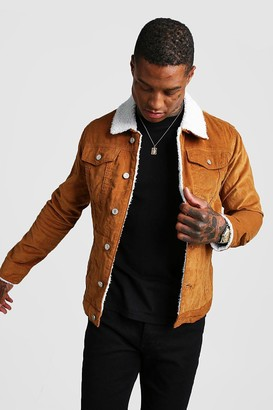 boohoo Mens Brown Cord Jacket With Borg Collar, Brown