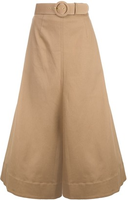 Nicholas belted A-line skirt