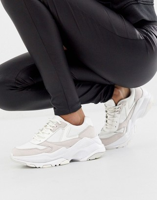 Asos Design DESIGN Disposition chunky trainers in white/off white-Multi