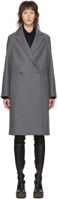 Stella McCartney Grey Wool Double-Breasted Coat