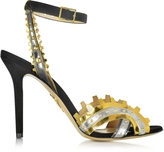 Charlotte Olympia High Gear Black Suede and Metallic Leather Sandal