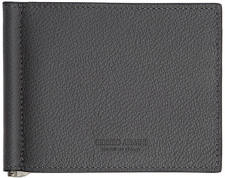 Giorgio Armani Grey Tumbled Leather Wallet
