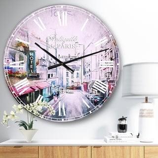 Design Art Designart 'Paris Illustration' Cityscape Digital Large Wall CLock