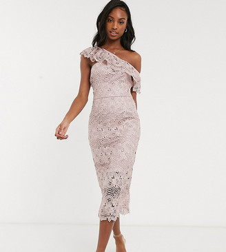 Chi Chi London Tall lace pencil dress with asymmetric ruffle in mink