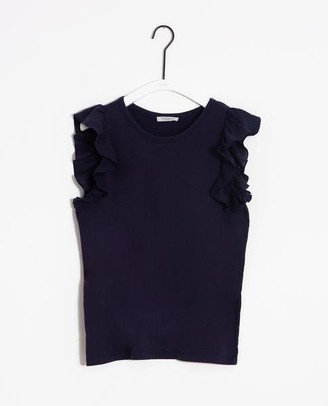 Beaumont Organic Zooey May Organic Cotton Linen Top In Midnight - Midnight / Extra Small