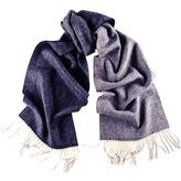 Black Granville Navy and Grey Herringbone Cashmere Scarf