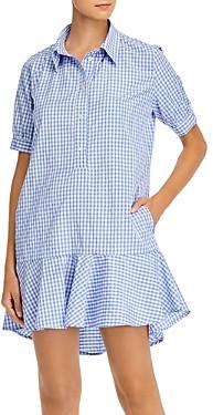 Aqua Gingham Print Ruffled Mini Dress - 100% Exclusive