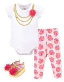 Little Treasure Baby Girls Bodysuit, Pant and Shoe Set