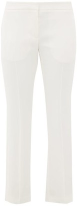 Alexander McQueen Satin-trimmed Leaf-crepe Trousers - Womens - Ivory