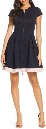Eliza J Zip Front Ponte Fit & Flare Dress