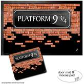 1art1® Set: 1 Door Mat Floor Mat (24x16 inches) + 1 Mouse Pad (9x7 inches) - Brick Walls, Platform 9 3/4