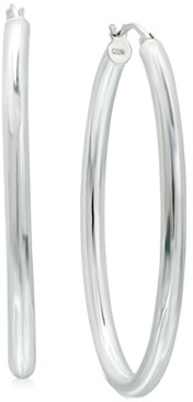 "Giani Bernini Medium Polished Tube Hoop Earrings in Sterling Silver, 1.1"", Created for Macy's"