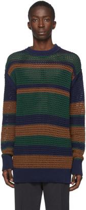 Jil Sanderand Green and Blue Knitted Crewneck Sweater