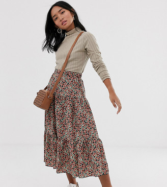 Only Petite floral tiered maxi skirt