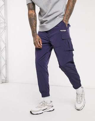 Polo Ralph Lauren Sport Capsule belted cargo nylon cuffed joggers in navy