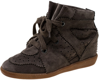 Isabel Marant Brown Suede Leather Bobby Wedge Sneakers Size 36