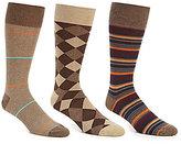 Roundtree & Yorke Gold Label Textured Stripe Combo Crew Dress Socks 3-Pack