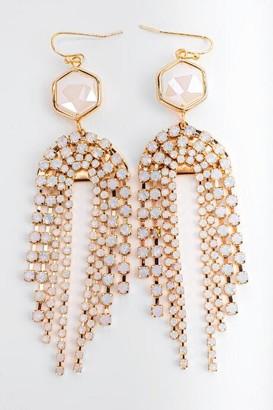 francesca's Joselyn Hexagon Chandelier Earrings - Pale Pink