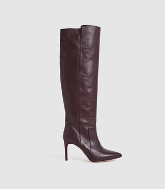 Reiss Zinnia - Leather Point Toe Knee High Boots in Pomegranate