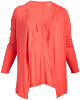 Three Dots Coral Powder Luz Draped Open Cardigan - Plus