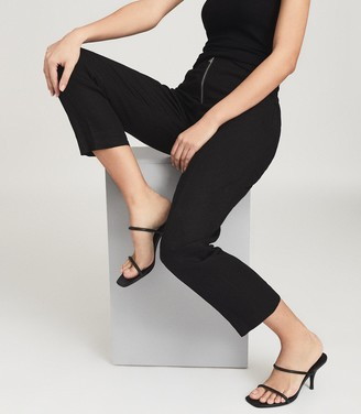 Reiss Magda - Leather Strappy Heeled Sandals in Black