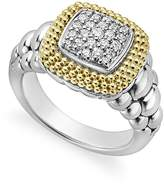 Lagos 18K Gold and Sterling Silver Diamond Lux Square Ring