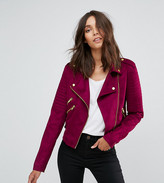 Asos Tall Biker Jacket In Suedette
