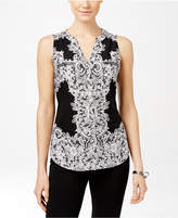 INC International Concepts Petite Printed Zip-Detail Top, Only at Macy's