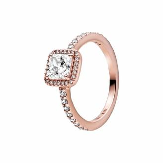 Pandora Square Sparkling Radial Ring Rose Size 56