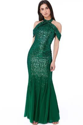 Goddiva Emerald Cut Out Sequin and Chiffon Maxi Dress