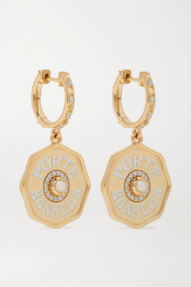 Marlo Laz Mini Porte Bonheur 14-karat Gold, Enamel, Pearl And Diamond Earrings - one size