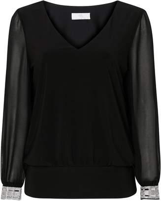 Wallis PETITE Black Embellished Cuff Top