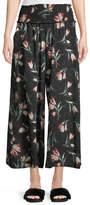 Rebecca Taylor Ikat Floral-Print Wide-Leg Silk Pants