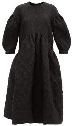 Simone Rocha Puff-sleeved Floral-cloque Midi Dress - Black