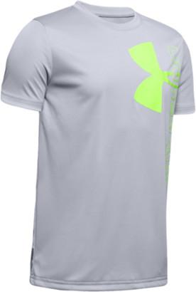 Under Armour Split Logo Hybrid Short Sleeve T-Shirt - Mod Gray / Lime Light