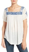 Lucky Brand Women's Embroidered Slub Knit Top