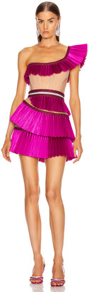 AADNEVIK One Shoulder Pleated Ruffle Mini Dress in Pink | FWRD