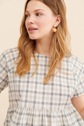 Urban Outfitters Cody Checkered Babydoll Blouse