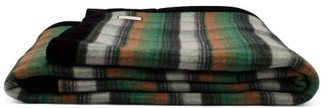 Gucci GG-instarsia & Checked Wool Blanket - Green Multi