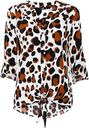 Wallis Brown Animal Print Tie Front Top