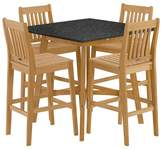 Oxford Garden Wexford 5pc Square Wood Patio Dining Set - Natural Shorea/Charcoal