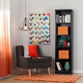 South Shore Morgan 5-Shelf Narrow Bookcase with 2 Canvas Storage Baskets in Black Oak